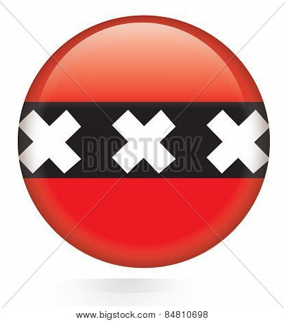 Amsterdam City flag button