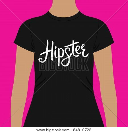 Black Shirt with Hipster Text Print on the Chest