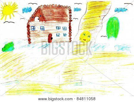 Child Drawing Of A Fairytale Koobok - Gingerbread Boy