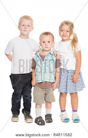 Adorable kids - two brothers and a sister are in full growth