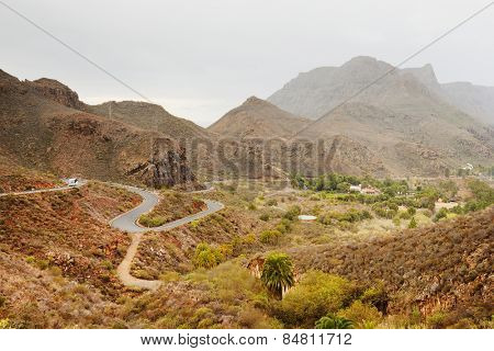 Road in Parque Natural de Pilancones in Gran Canaria, Canary Islands, Spain