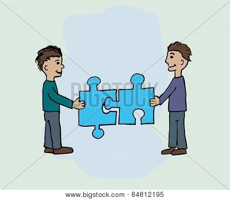 Two men fitting a jigsaw