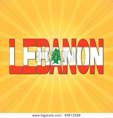 Lebanon flag text with sunburst illustration