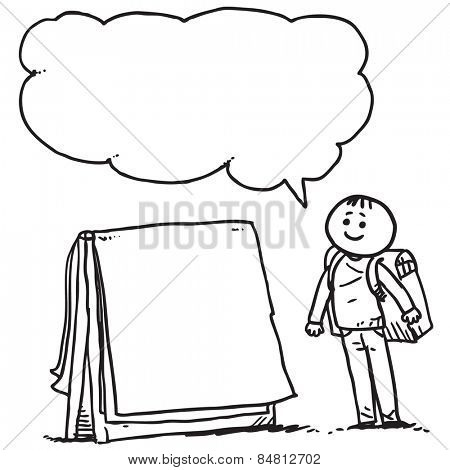 Schoolkid with flip chart speaking