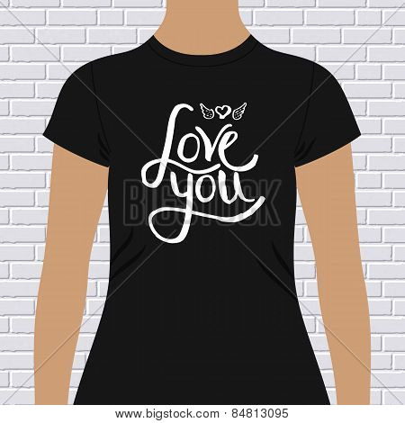 Black Shirt with Love You Message and Winged Heart
