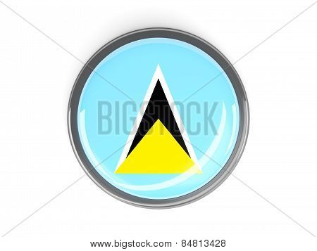 Round Button With Flag Of Saint Lucia