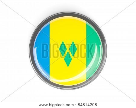 Round Button With Flag Of Saint Vincent And The Grenadines