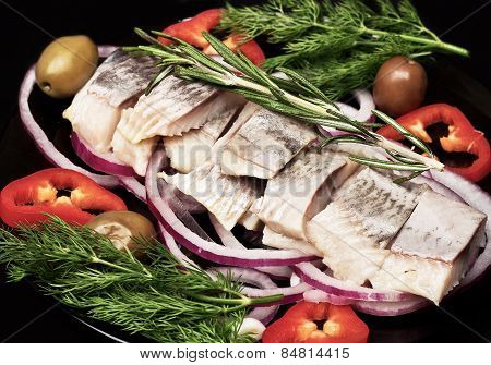 Smoked mackerel  with vegetables.