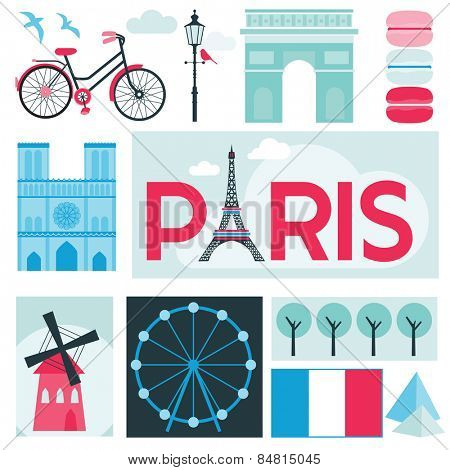 Paris Card - Places and Museum in Paris - in vector