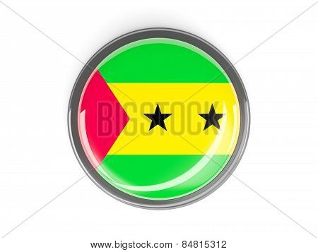 Round Button With Flag Of Sao Tome And Principe