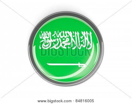 Round Button With Flag Of Saudi Arabia