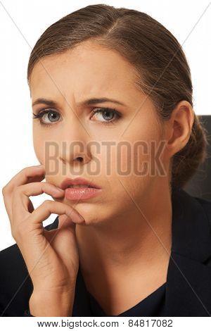 Portrait of pensive woman having a trouble