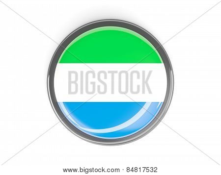 Round Button With Flag Of Sierra Leone