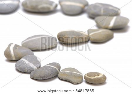 stony foot path over white background