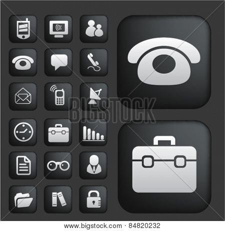 communication, connection, technology mobile isolated buttons, icons, signs, illustrations concept set on background. vector