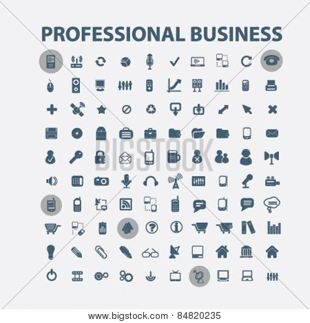 professional business, management, factory, marketing, team, businessmen isolated icons, signs, illustrations concept set on background. vector
