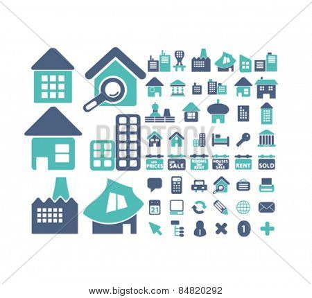 real estate, buildings isolated icons, signs, illustrations concept set on background. vector