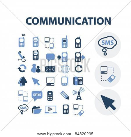 communication, connection, technology isolated icons, signs, illustrations concept set on background. vector