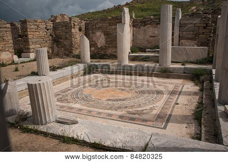 Ancient Greek Ruins At The Archaeological Island Of Delos