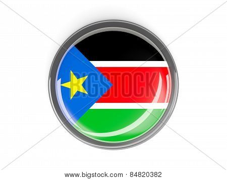 Round Button With Flag Of South Sudan