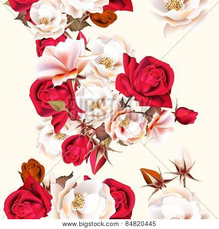 Floral Seamless Pattern With White And Red Roses In Vintage Style