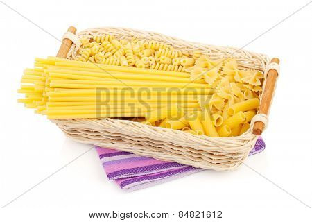 Pasta in basket. Isolated on white background