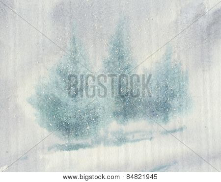 Christmas Trees In Snow Blizzard Watercolour Illustration.