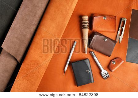 Hand made leather man accessories and tools