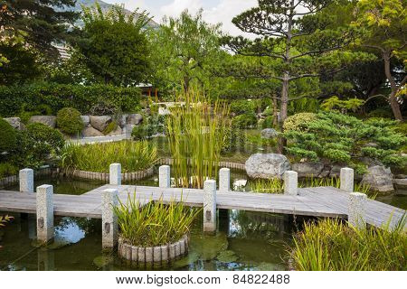 MONTE CARLO, MONACO - OCTOBER 3, 2014: View of Japanese garden in Monte Carlo, Monaco