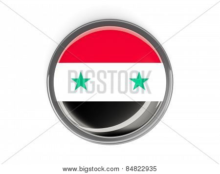 Round Button With Flag Of Syria