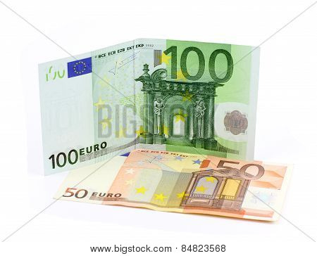 100 And 50 Euro Banknotes Isolated On A White