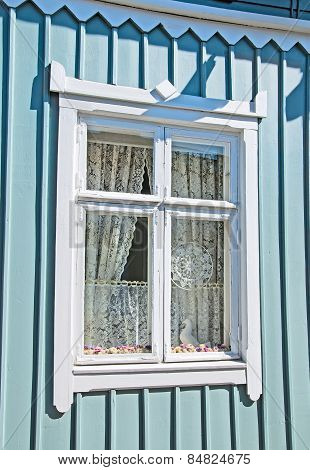 Rauma. Finland. Lace in the window. Old Rauma