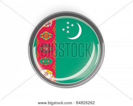 Round Button With Flag Of Turkmenistan