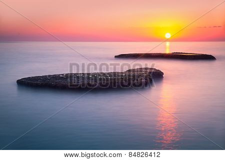 Beautiful colorful sunset over sea, Lebanon, Mediterranean sea, amazing landscape, calm evening seascape, beauty of nature