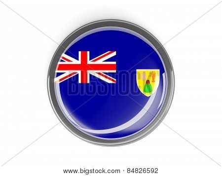 Round Button With Flag Of Turks And Caicos Islands
