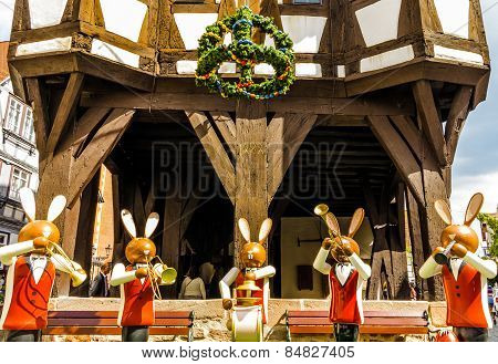 Easter bunnies in front of the town hall in Michelstadt, Odenwald, Germany