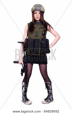 Woman In A Military Camouflage With A Submachine Gun