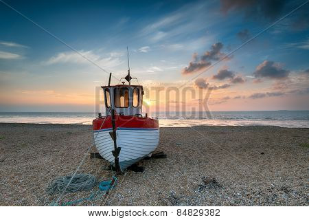Beautiful Fishing Boat At Sunrise