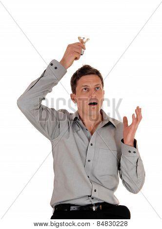 Man Holding Light Bulb.