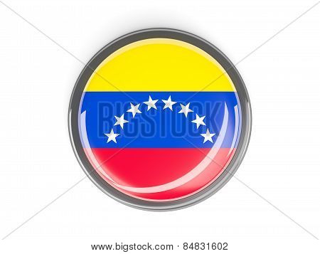 Round Button With Flag Of Venezuela