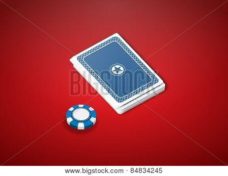 poker cards on red table with blue chip