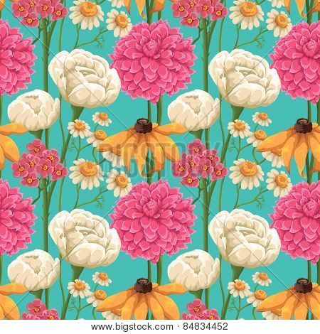 Floral seamless patterns with roses, chamomiles and other flowers