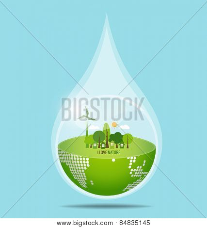 Green Eco Earth with water drop. Vector Illustration.