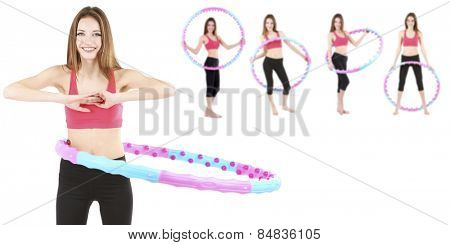 Woman doing exercises with hula hoop isolated on white, different poses in collage