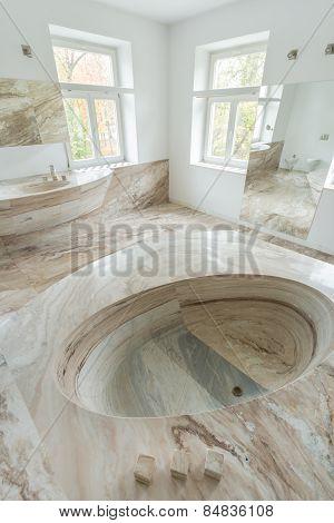 Marble Sink In A Bathroom