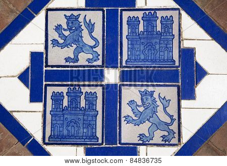 Floor Tile With Heraldic Symbols Of Spain