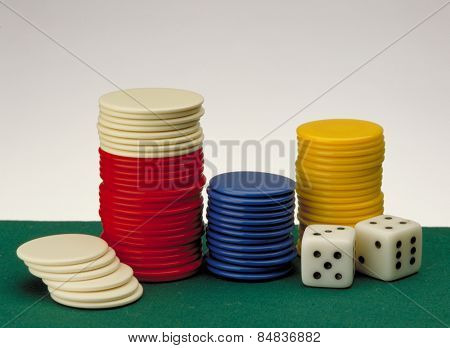 Casino gambling background and Poker Chips on a gaming table.