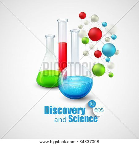 Chemical Science and discovery. Vector illustration. Molecule  flasks