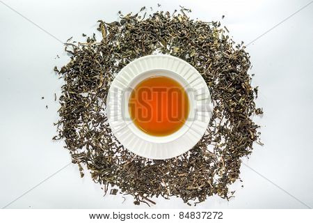 A white cup of tea in the center