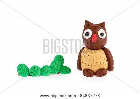 Owl Made Of Plasticine